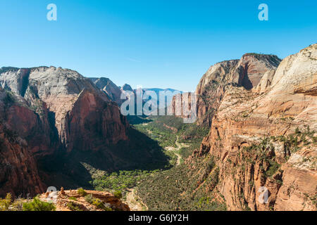 View of Zion Canyon from Angels Landing, Virgin River, Zion National Park, Utah, USA - Stock Photo