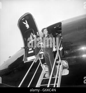 Entertainment - Hugh Hefner - Heathrow Airport, London - Stock Photo