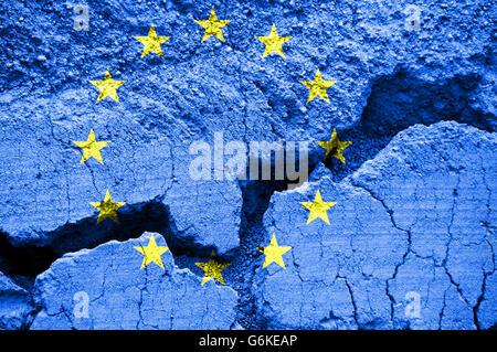 Flag of the  European Union on cracked background - Stock Photo
