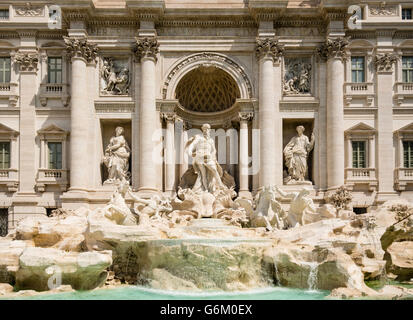 Trevi Fountain or Fontana di Trevia  in Rome Italy - Stock Photo