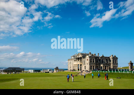 The Royal and Ancient Clubhouse beside 18th green on Old Course at St Andrews golf course in Fife, Scotland, united - Stock Photo