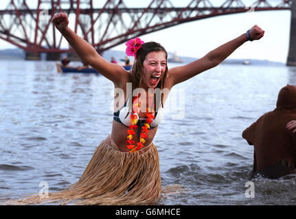 Customs and Traditions - New Year's Day Celebrations -  'Loony Dook' Dip - Edinburgh - Stock Photo