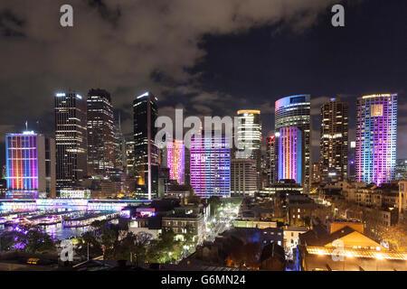 Sydney skyline during Vivid Sydney 2016 - Stock Photo