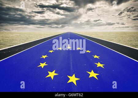 European flag, road perspective, dark clouds, crisis concept - Stock Photo