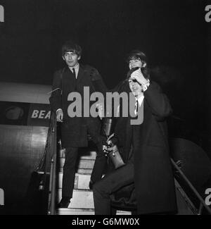 Music - The Beatles - George Harrison, John Lennon and Paul McCartney - London Airport - Stock Photo