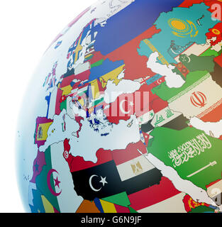 3D globe with national flags - Stock Photo