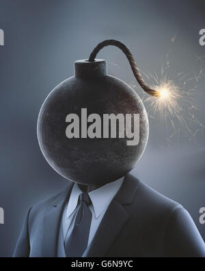 Businessman with a bomb in place of his head with a lit fuse - 3D illustration - Stock Photo