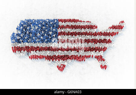 The outline of US formed by people dressed in red, blue and white - 3D illustration - Stock Photo
