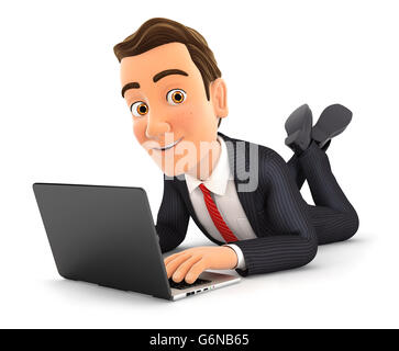 3d businessman lying on the floor and using laptop, illustration with isolated white background - Stock Photo
