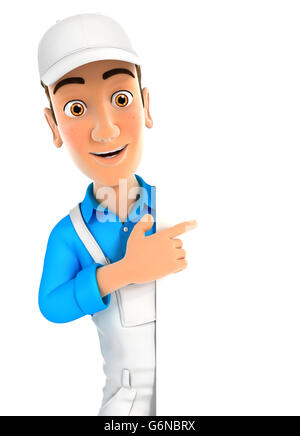 3d painter pointing to right blank wall, illustration with isolated white background - Stock Photo