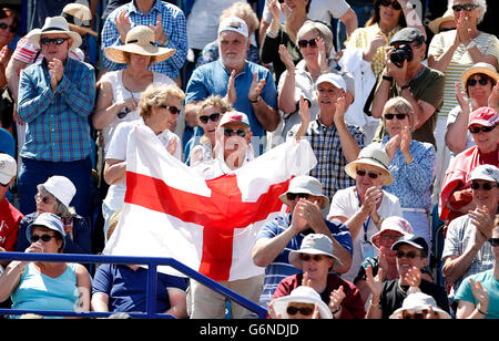 A spectators holds an England flag as Great Britain's Johanna Konta wins her match during day five of the 2016 AEGON - Stock Photo