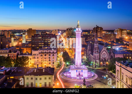 Baltimore, Maryland, USA cityscape at Mt. Vernon and the Washington Monument. - Stock Photo