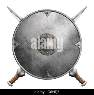 metal gladiator shield and two crossed swords 3d illustration isolated - Stock Photo