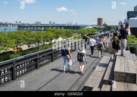 Visitors Enjoying the High Line Park, NYC - Stock Photo