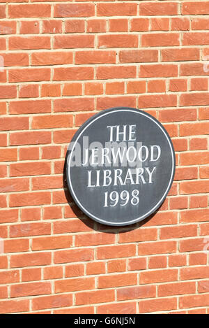 The sign on the Jerwood Library Trinity Hall College building Cambridge University Cambridge UK - Stock Photo