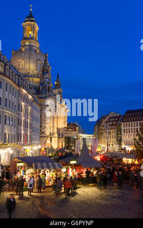 Christmas market on the Neumarkt , in the background the church Frauenkirche, Dresden, Germany, Sachsen, Saxony, - Stock Photo