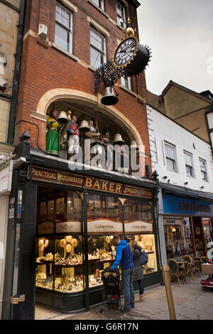 UK, Gloucestershire, Gloucester, Southgate Street, Baker's jewellers, old father time clock figures - Stock Photo