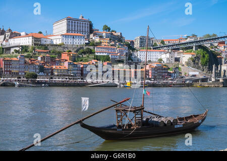 A traditional Rabelo boat, for transporting port wine, Porto, Portugal, a UNESCO World Heritage Site. - Stock Photo
