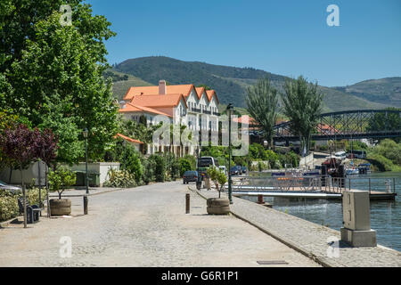 Pretty riverside village of Pinhao, Portugal, part of the Douro Valley wine producing region and a UNESCO World - Stock Photo