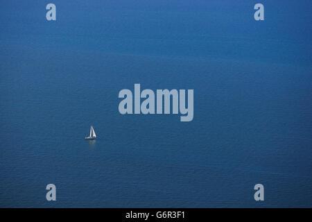 Sailing boat on Baltic Sea, near Island Hiddensee, Mecklenburg-Western Pommerania, Germany
