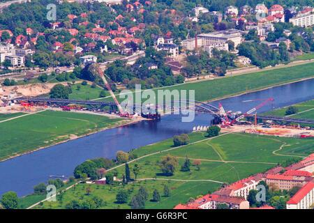 Waldschlosschen Bridge across river Elbe, under construction, Dresden, Saxony, Germany / Waldschlösschenbrücke, - Stock Photo