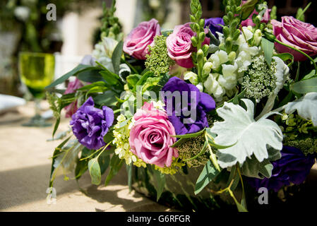 Closeup of floral arrangement used as a centerpiece in a Mexican Wedding - Stock Photo