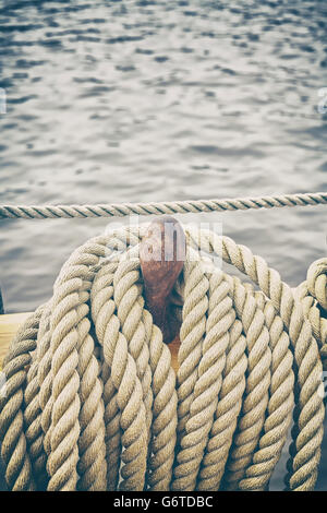 Retro stylized rigging of an old sailing ship. - Stock Photo