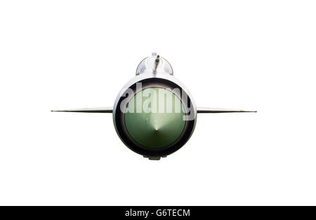 Front View of Fighter Plane Isolated on White Background - Stock Photo