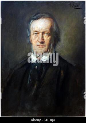 Richard Wagner (1813-1883) German composer, portrait by by Franz von Lenbach (1836-1904) circa 1875. - Stock Photo