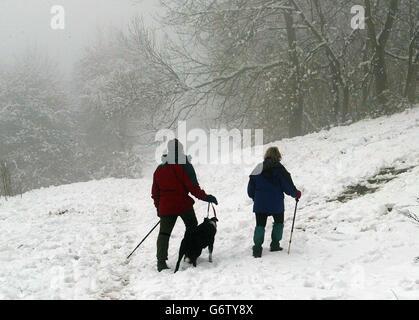 Malvern Hills Snowfall - Stock Photo