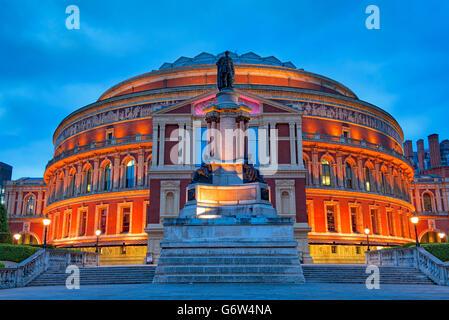Royal Albert Hall, Kensington, London at night - Stock Photo