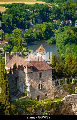 View over Saint-Cirq-Lapopie with River Lot beyond, Midi-Pyrenees, France - Stock Photo