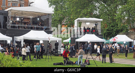 A view of TV news outside broadcast covering the EU referendum result at The College Garden in London on Friday - Stock Photo