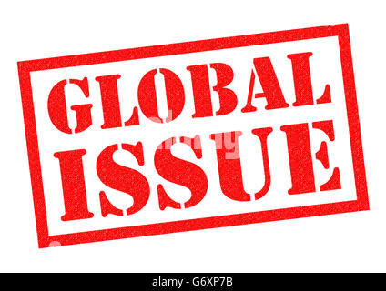 GLOBAL ISSUE red rubber Stamp over a white background. - Stock Photo