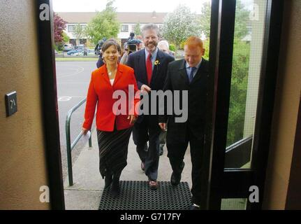 Sinn Fein's President Gerry Adams, European Election candidate Mary Lou McDonald and their Local Election candidate for Castleknock Luke Stynes arrive at the polling station in Castleknock in west Dublin. Mary Lou was preparing to cast her votes in the Local and European Elections as well as in the Citizenship Referendum.