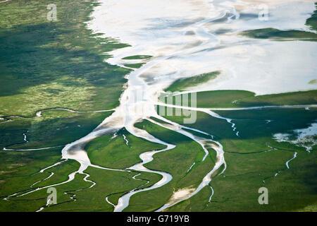 Saltmarshes, tidal creeks, St Peter- Ording, Eiderstedt, Schleswig-Holstein, North Sea, Germany - Stock Photo
