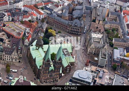 St Petri Cathedral, townhall, Bremen city centre, Germany - Stock Photo