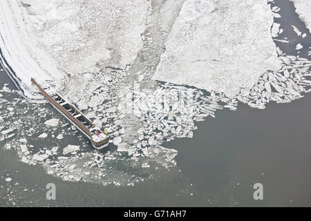 Frozen harbour of Langeoog, East Frisia, North Sea, Lower Saxony, Germany / ice floes - Stock Photo