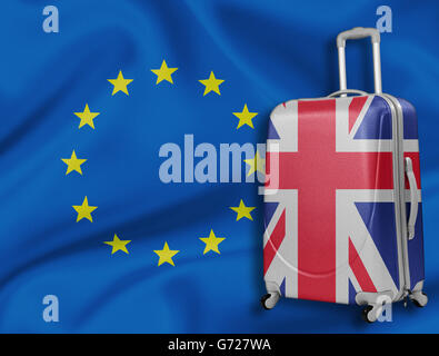Brexit illustration. British baggage with EU flag behind. - Stock Photo