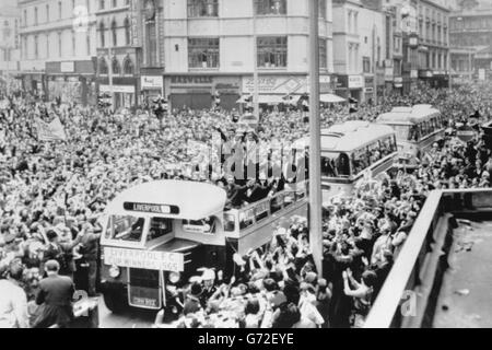 Liverpool goes wild for the Cup Winners. - Stock Photo