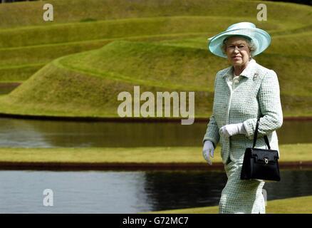Britain's Queen Elizabeth II looks over the Landform sculpture at the Gallery of Modern Art in Edinburgh, on her - Stock Photo