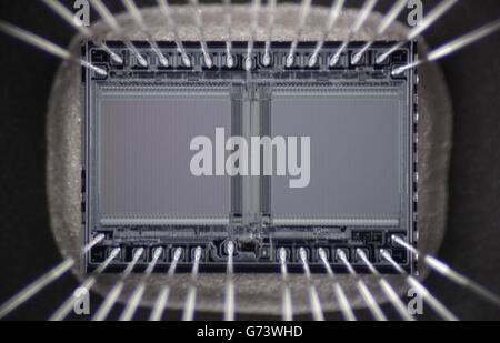 macro photo of micro ultraviolet memory array with the contacts - Stock Photo
