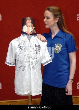 Paul Gascoigne's shirt worn in the 1990 World Cup - Stock Photo