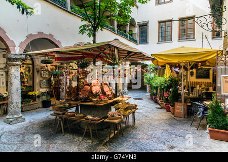 Picturesque courtyard in the old town, Salzburg, Austria - Stock Photo