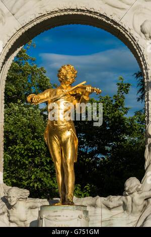 Johann Strauss Monument at Stadtpark, Vienna, Austria - Stock Photo