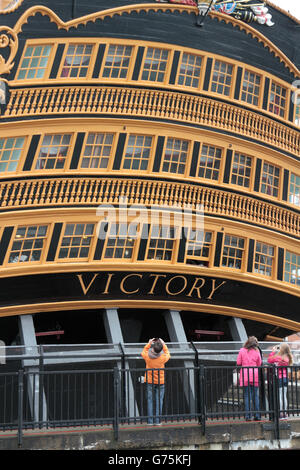 External view of the stern of the HMS Victory, Nelson's flagship in Portsmouth Historic Dockyard, Hampshire, UK. - Stock Photo