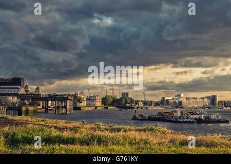 Greenwich London. Beautiful landscape Thames river view at sunset. Old Greenwich Power Station, Royal Naval College, - Stock Photo