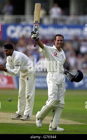 England v India - Michael Vaughan - Stock Photo