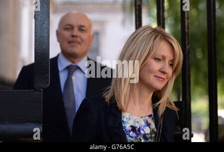 Secretary of State for Work and Pensions, Iain Duncan Smith and Employment Minister Esther McVey arrive at 10 Downing Street in London as David Cameron is putting the final touches to a reshuffle that is expected to see more women promoted into key positions.