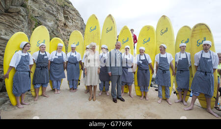 Prince of Wales and Duchess of Cornwall annual summer tour of Devon and Cornwall - Stock Photo